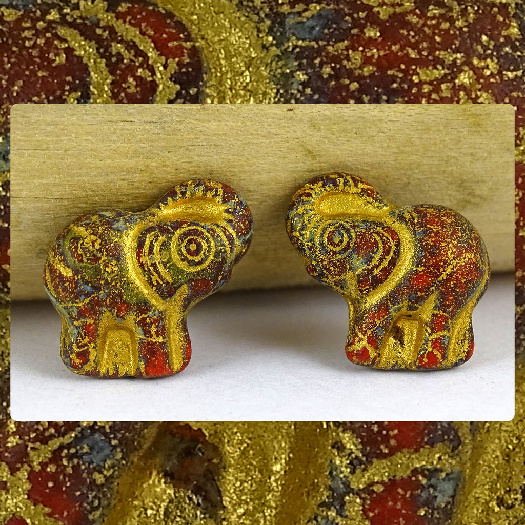 Czech Glass Beads: Gilded Matte Red/Patina Elephants (Bag of 2 beads)
