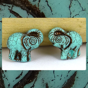 Czech Glass Beads: Gilded Matte Turquoise Elephants (Bag of 2 beads)