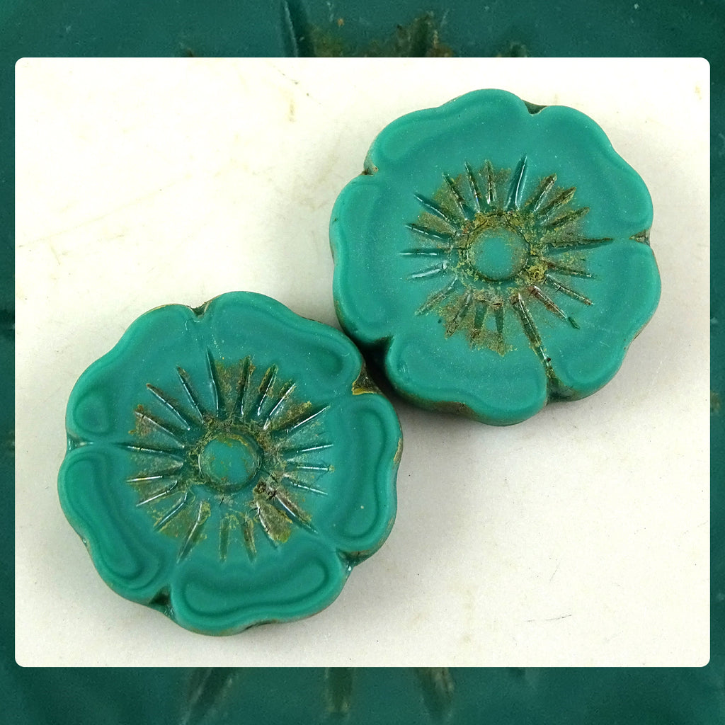 Czech Glass Beads: Matte Turquoise Large Flower (Bag of 2 beads)