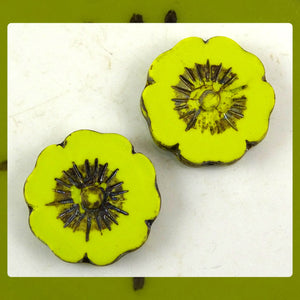 Czech Glass Beads: Matte Chartreuse Large Flower (Bag of 2 beads)