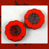 Czech Glass Beads: Matte Bright Red Large Flower (Bag of 2 beads)