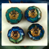 Czech Glass Beads: Gilded Shiny Blue/Green Table Cut (Bag of 4 beads)
