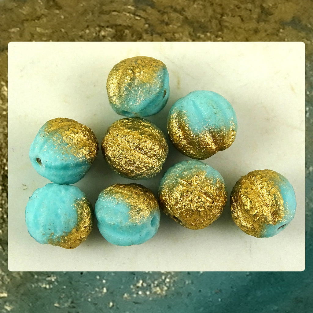 Czech Glass Beads: Matte Gilded Turquoise Melon Beads (Bag of 8 beads)
