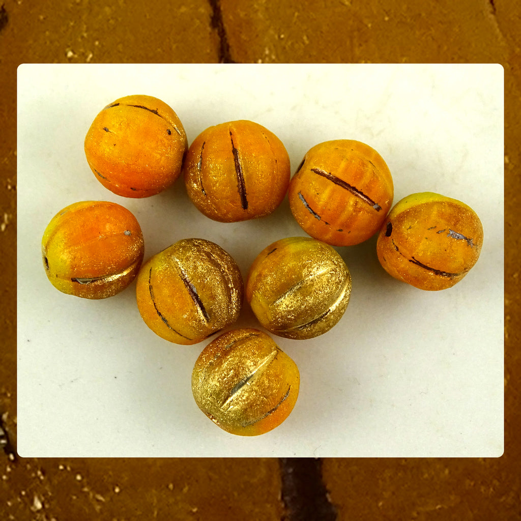 Czech Glass Beads: Matte Gilded Orange Melon Beads (Bag of 8 beads)