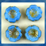 Czech Glass Beads: Medium Blue Hawaiian Flower Beads (Bag of 4 beads)
