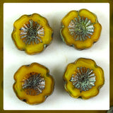 Czech Glass Beads: Golden Yellow Hawaiian Flower Beads (Bag of 4 beads)