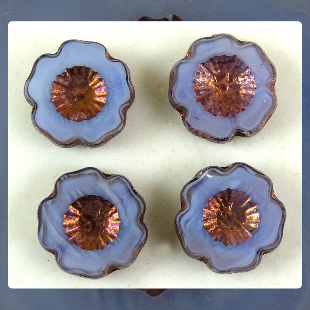 Czech Glass Beads: Periwinkle Hawaiian Flower Beads (Bag of 4 beads)