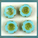Czech Glass Beads: Turquoise Hawaiian Flower Beads (Bag of 4 beads)