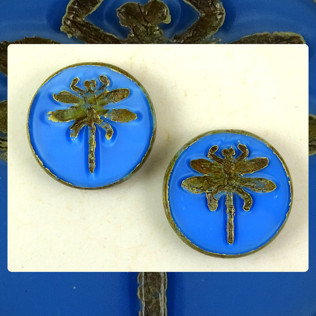 Czech Glass Beads: Table Cut Large Dragonfly Beads - Blue Opal (Bag of 2)