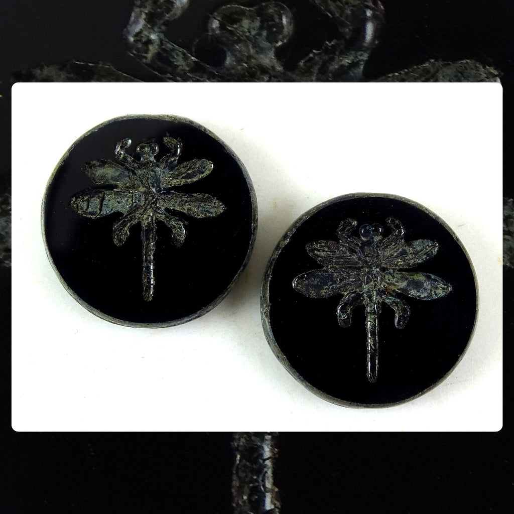 Czech Glass Beads: Table Cut Large Dragonfly Beads - Black (Bag of 2)