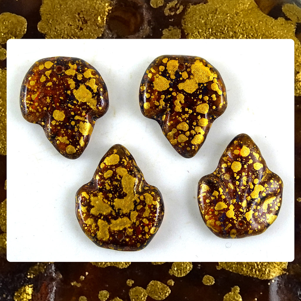 Czech Glass Beads: Gold-Drizzled Dark Topaz (Transparent) (Bag of 4)