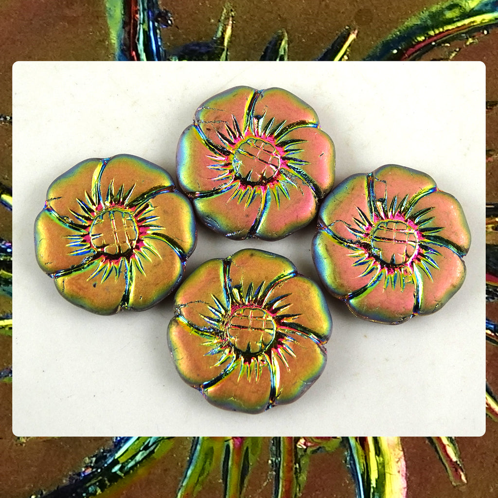 Czech Glass Beads: Vitrail Matte Metallic Flower Beads (Bag of 4)
