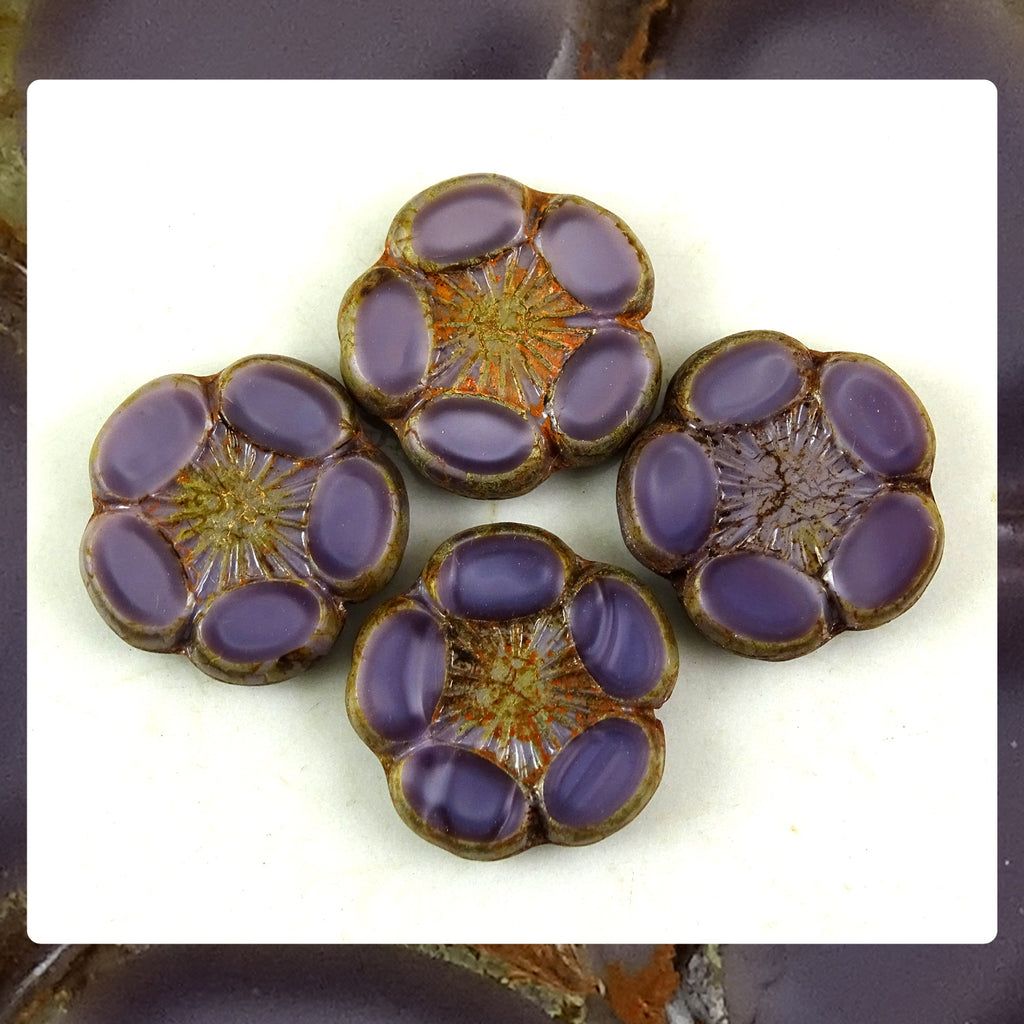 Czech Glass Beads: 5 Petal Flower - Purple (Bag of 4 beads)