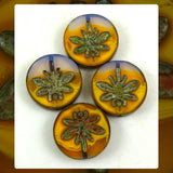 Czech Glass Beads: Table Cut Large Dragonfly Beads - Violet Sunset (Bag of 4)