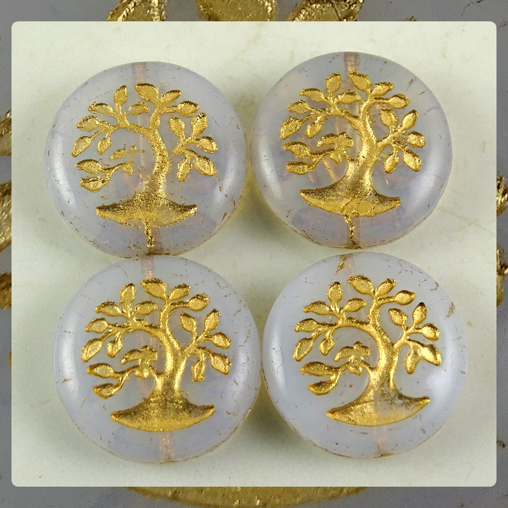 Czech Glass Beads: Matte Gilded Tree of Life Bead - White Alabaster (Bag of 4)