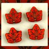 Czech Glass Beads: Maple Leaf - Opaque Red - Semi Matte (Bag of 4)