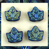 Czech Glass Beads: Maple Leaf – Black Matte AB (Aurora Borealis) – Bag of 4