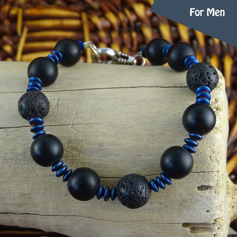 Men's Bracelet - Volcanic Lava Beads w/ Round Lobster Claw Clasp