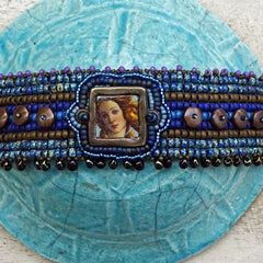 Sophia's Web Bracelet: Hand-Woven, Bead Embroidered, Hand-Decorated