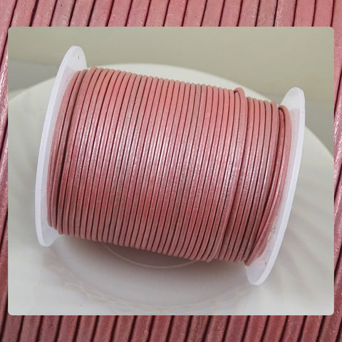 European Round Leather Cord: Pale Pink (3 Meters / 3.28 Yards)