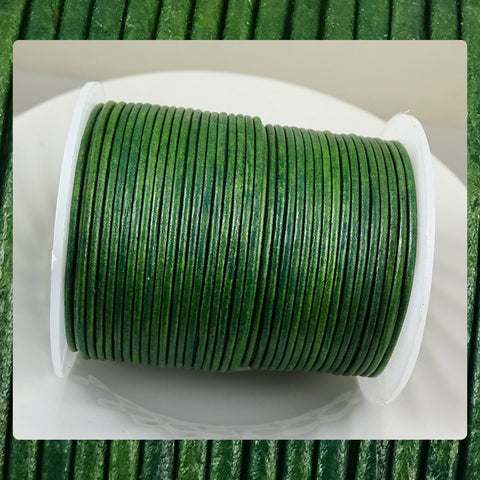 European Round Leather Cord: Green Shades (3 Meters / 3.28 Yards)