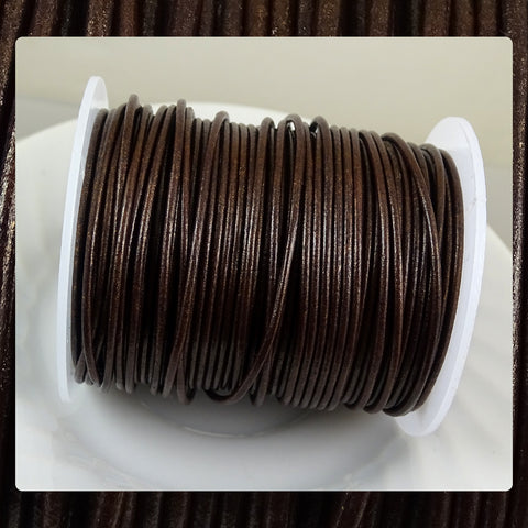 European Round Leather Cord: Metallic Brown (3 Meters / 3.28 Yards)