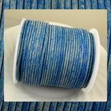 European Round Leather Cord: Sky Blue (3 Meters / 3.28 Yards)