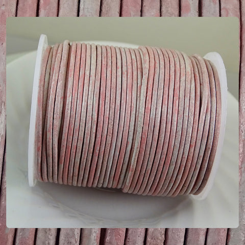 European Round Leather Cord: Distressed Pink (3 Meters / 3.28 Yards)