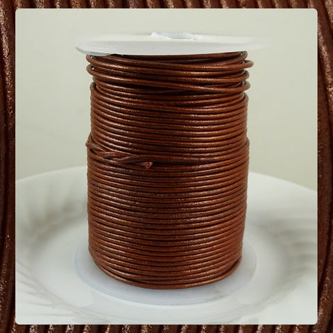 European Round Leather Cord: Metallic Cinnamon (3 Meters / 3.28 Yards)