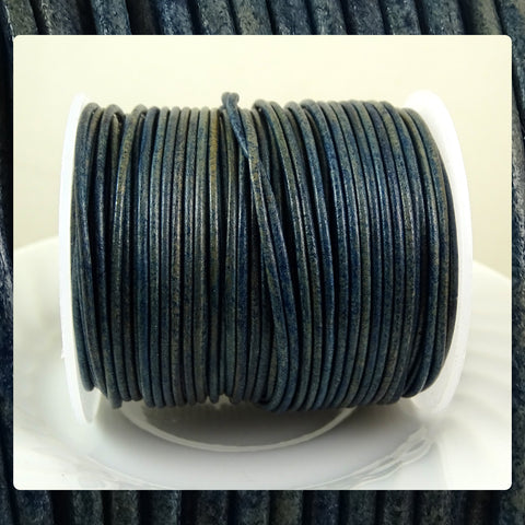 European Round Leather Cord: Royal Blue (3 Meters / 3.28 Yards)
