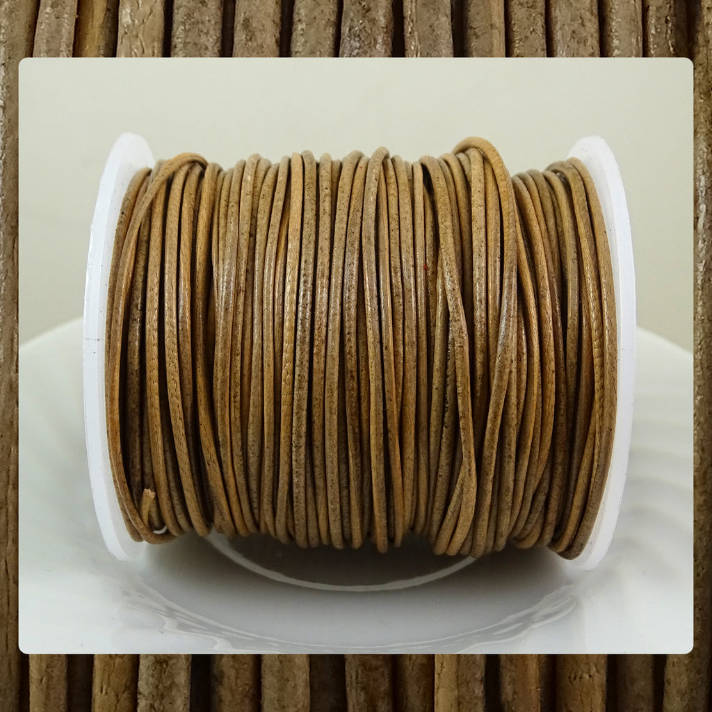 European Round Leather Cord: Taupe (3 Meters / 3.28 Yards)