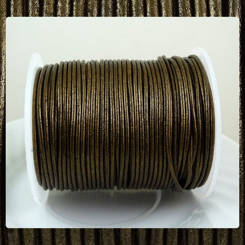 European Round Leather Cord: Metallic Bronze (3 Meters / 3.28 Yards)