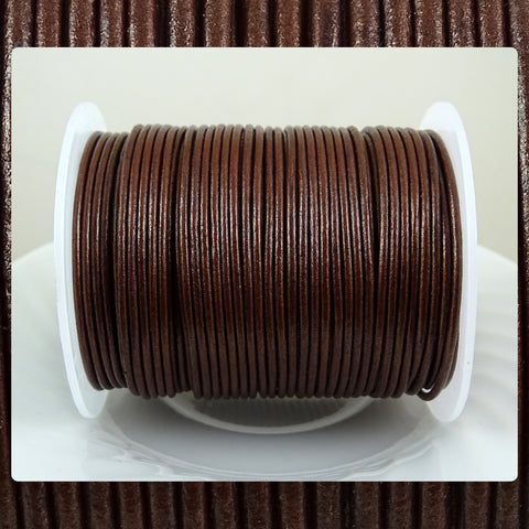European Round Leather Cord: Metallic Burgundy (3 Meters / 3.28 Yards)