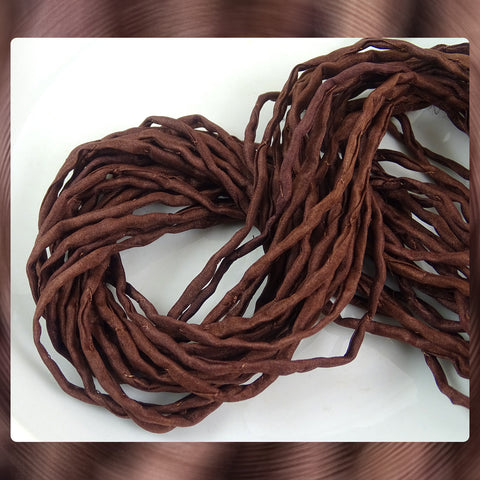 Hand Dyed Silk Cords: Chocolate Brown - Sold By The Individual Cord (Width: 2-3mm)