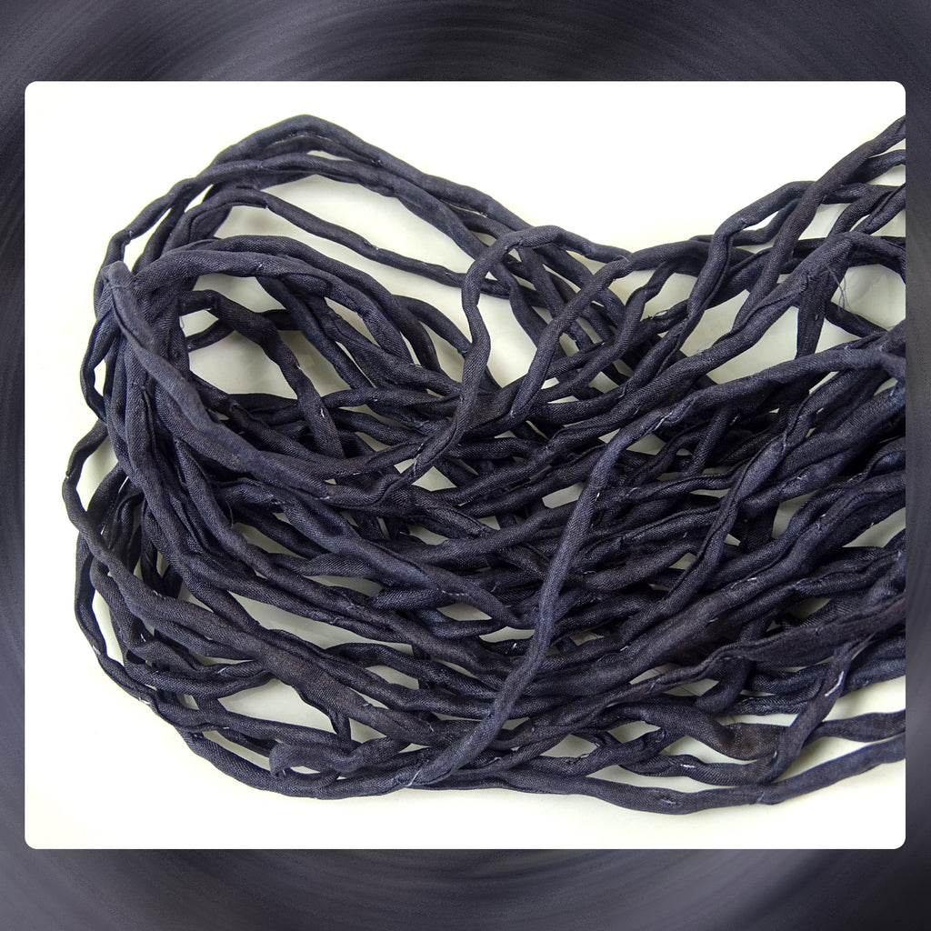 Hand Dyed Silk Cords: Charcoal Black - Sold By The Individual Cord (Width: 2-3mm)
