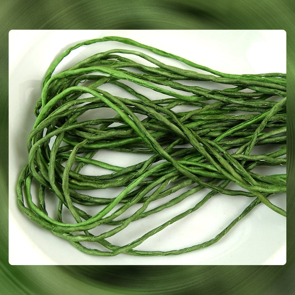 Hand Dyed Silk Cords: Leaf Green - Sold By The Individual Cord (Width: 2-3mm)