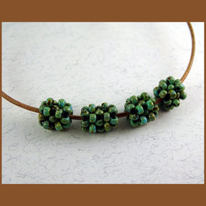 """Cage Beads"": Hand-Woven Beaded Beads - Picasso Turquoise"