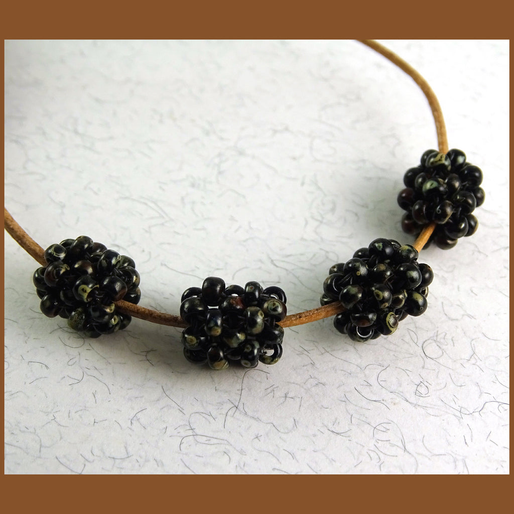 """Cage Beads"": Hand-Woven Beaded Beads - Picasso Black"