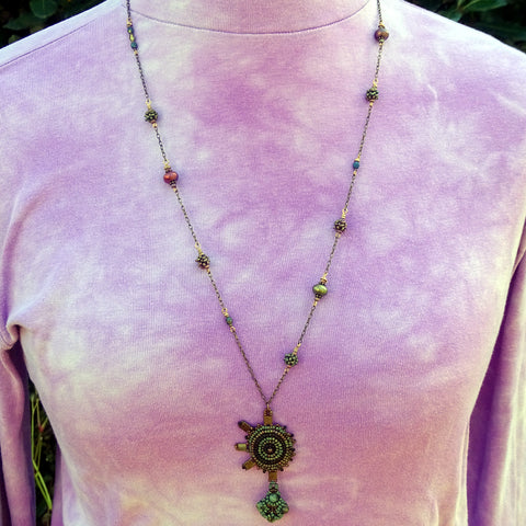 Mandala Amulet Necklace with Hand-Woven Pendant