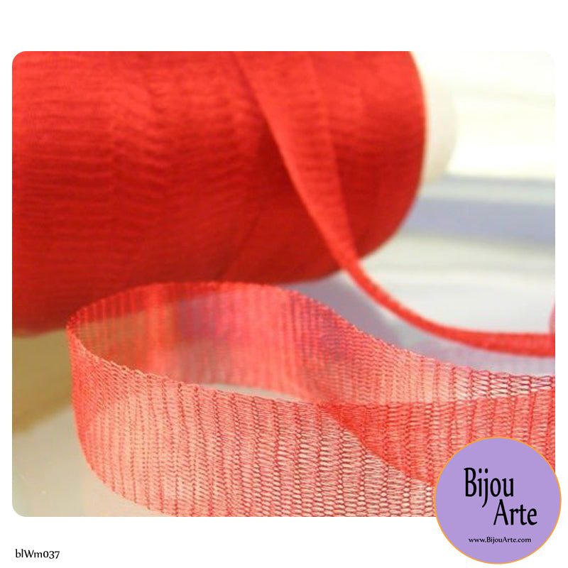 Italian Tubular Wire Mesh Ribbon - Scarlet (20mm)