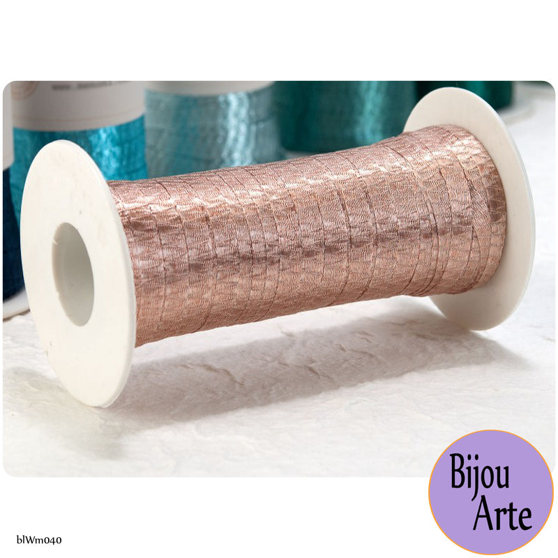 Italian Tubular Wire Mesh Ribbon - Copper Rose (6mm)