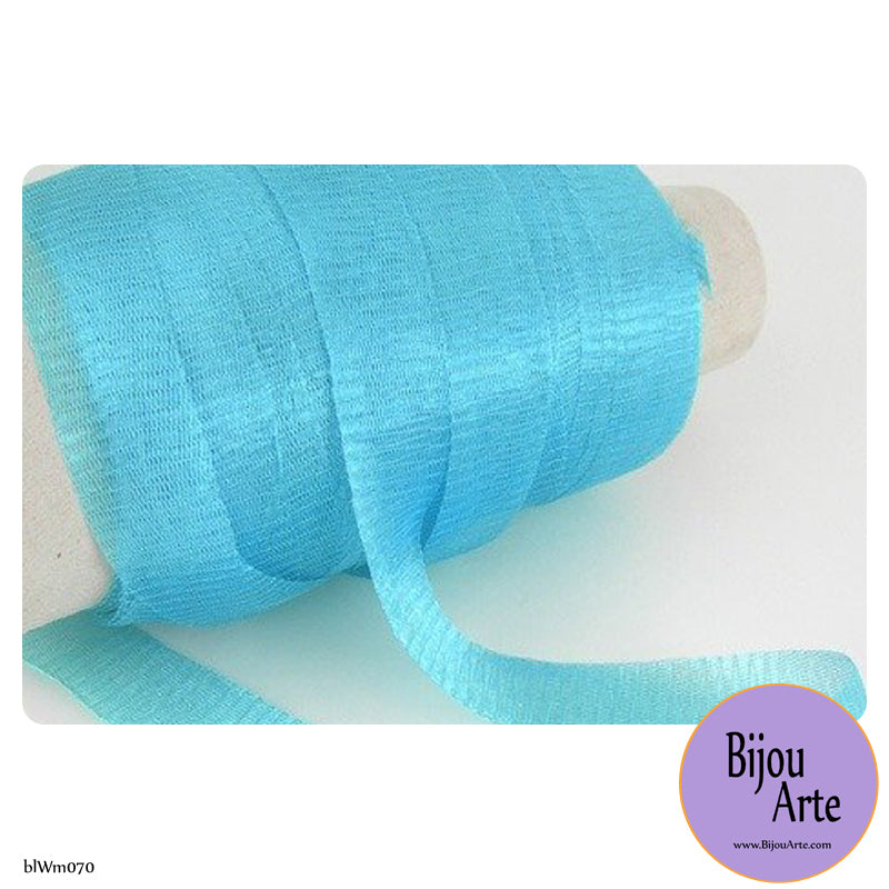Italian Tubular Wire Mesh Ribbon - Turquoise (20mm)