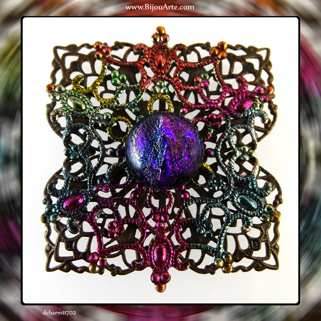 Hand-Painted, Antique Brass, Double Filigree Pendant With Dichroic Glass Center