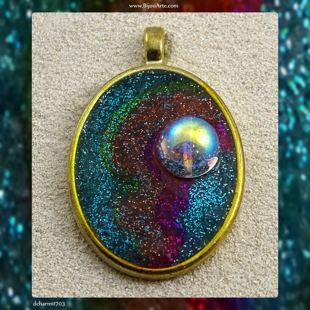 Hand-Decorated Resin Pendant With Gold-Plated Bezel