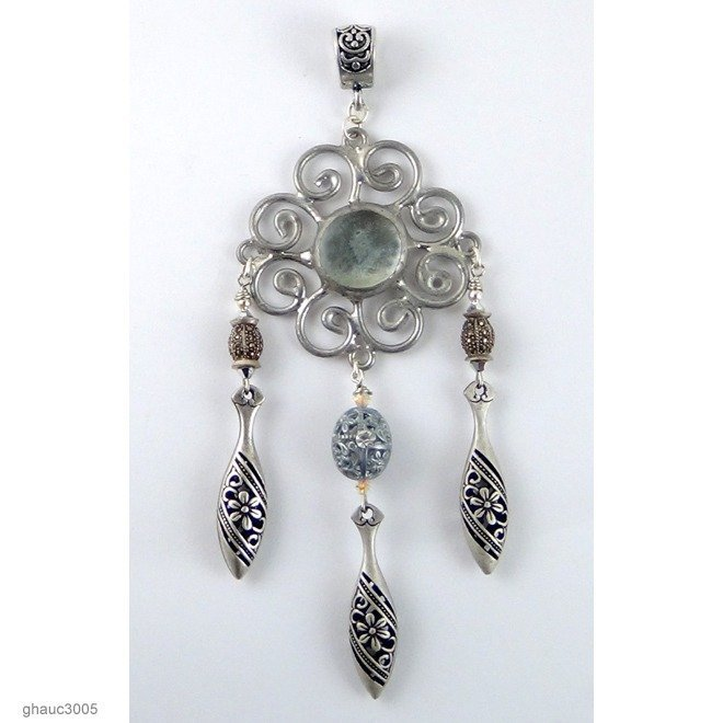 Hand-Made Pendant with Sterling Silver and Marcasite Beads