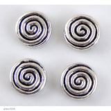 "High quality Zinc alloy ""Zamak"" Spiral beads with silver-plated finish.  Each bead measures 13mm end-to-end."