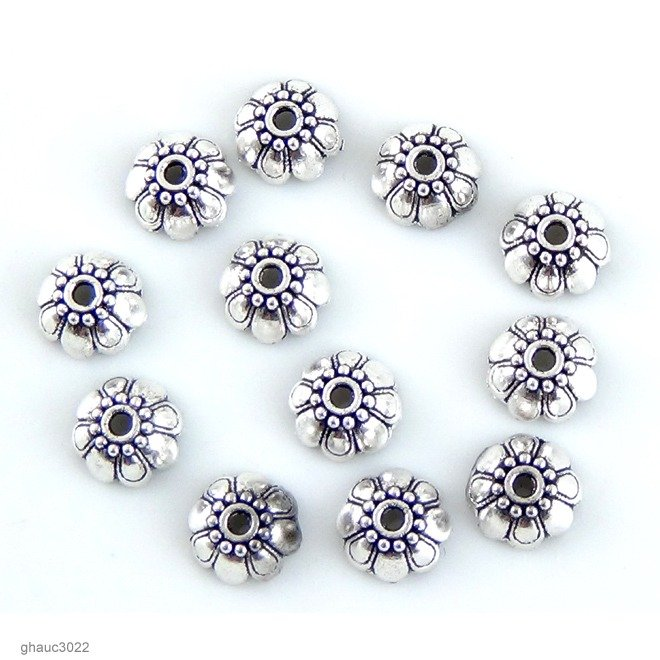 Zinc Bead Caps: Pack of 12