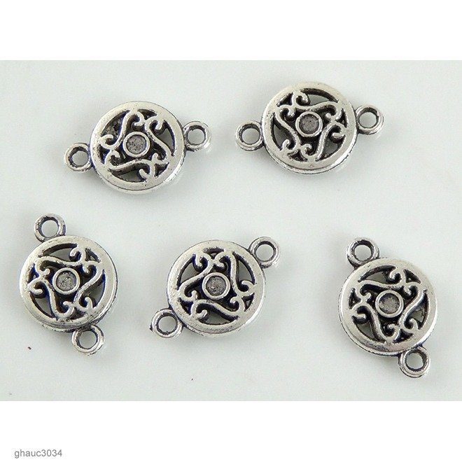 Antique-silver plated zinc alloy, Bali-Thai style links  Each bead measures 19mm end-to-end.