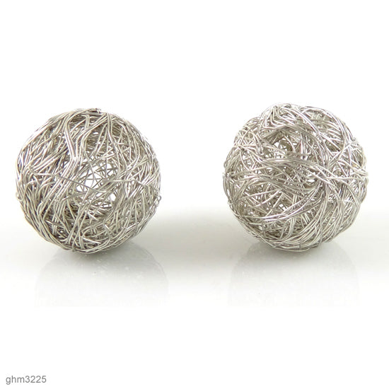 Wire Wrapped Sphere Beads: Pack of 2 (Silver)