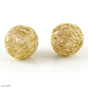 Wire Wrapped Sphere Beads: Pack of 2 (Bright Gold)